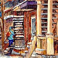 Montreal Staircase Scene Girl With Blue Jacket Canadian Winter Steps C Spandau Plateau To Verdun     by Carole Spandau