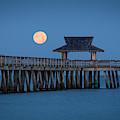 Moon-set Over Naples Pier by Brian Jannsen