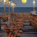 Moonrise At Kitty Hawk Pier 3657 by Dan Beauvais