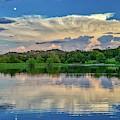 Moonrise Reflections Over The Lake by Lynn Bauer
