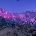 Moonset Alpenglow Alabama Hills Eastern Sierras California by Dave Welling