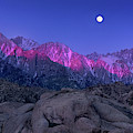 Moonset At Dawn Eastern Sierras Alabama Hills California by Dave Welling