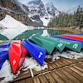 Moraine Lake Canoes by Inge Johnsson