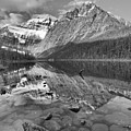 Morning Reflections In Cavell Pond Black And White by Adam Jewell