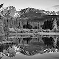 Morning Stillness - Rocky Mountain Landscape At Sprague Lake - Monochrome by Gregory Ballos