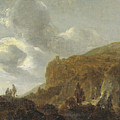 Mountain Landscape With Travellers by Guillam Du Bois