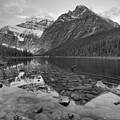 Mt Edith Cavell 2019 Sunrise Reflections Black And White by Adam Jewell