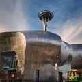 Museum Of Pop Culture With Space Needle  by Mary Capriole