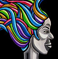 Colorful 3d Abstract Painting, Black Woman, Colorful Hair Art Artwork - African Goddess by Ai P Nilson