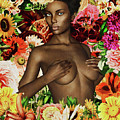 Naked African Woman Surrounded By Flowers by Jan Keteleer