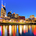 Nashville Blue Hour Skyline - Cumberland River Tennessee Art by Gregory Ballos