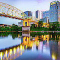 Nashville Shelby Street Bridge Over Cumberland River At Dusk by Gregory Ballos