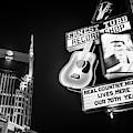 Nashville Skyline And Broadway Neon Lights - Bw Monochrome by Gregory Ballos