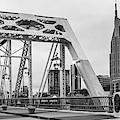 Nashville Skyline And Pedestrian Bridge Panorama - Monochrome by Gregory Ballos