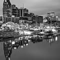 Nashville Skyline On The Cumberland River - Monochrome Edition by Gregory Ballos