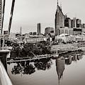 Nashville Skyline Panorama From The John Seigenthaler Pedestrian Bridge - Classic Sepia by Gregory Ballos