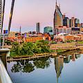 Nashville Skyline Panorama From The John Seigenthaler Pedestrian Bridge by Gregory Ballos