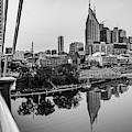 Nashville Skyline Panorama From The John Seigenthaler Pedestrian Bridge - Monochrome by Gregory Ballos
