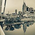 Nashville Skyline Panorama From The John Seigenthaler Pedestrian Bridge - Sepia by Gregory Ballos