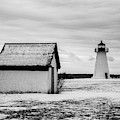 Neds Point Lighthouse Mattapoisett Ma Bw by David Gordon