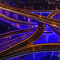 Neon Night Super Highway Illuminated by Fotovoyager