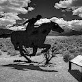 Nevada - Pony Express Monument 001 Bw by Lance Vaughn