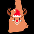 New Hampshire Christmas Antler Red Nose Reindeer by TeeQueen2603