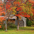 New Hampshire Sugar House In Autumn by Jeff Folger