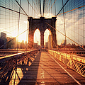 New York  Brooklyn Bridge Sunset by Philipp Klinger