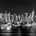 New York City Nyc Skyline Midtown Manhattan At Night Black And White by Jon Holiday