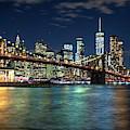New York City Skyline With Brooklyn Bridge by Harriet Feagin