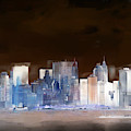 New York Skyline Illustration 1 by Richard Ortolano
