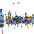 New York Watercolor Skyline by Marian Voicu
