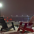 Newburyport Ma Adirondack Chairs  Snowstorm At Night Merrimac River by Toby McGuire
