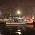 Newburyport Ma Snowstorm At Night Merrimac River Boat Reflection by Toby McGuire