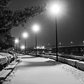Newburyport Ma Snowstorm At Night Merrimac River Lights Black And White by Toby McGuire