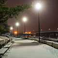Newburyport Ma Snowstorm At Night Merrimac River Lights by Toby McGuire