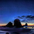 Night At Motukiekie Beach Pano In Greymouth West Coast New Zealand By Olena Art by OLena Art - Lena Owens