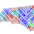 North Carolina State Word Art Map Of Cities by Peggy Collins