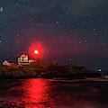 Nubble At Night In Pano Format by Rod Best