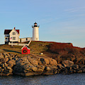 Nubble Lighthouse With Holiday Decorations by Luke Moore