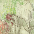 Nude Getting Out Of The Bath  by Edgar Degas