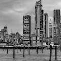 Nyc Esb Skyline Hudson Yards Bw by Susan Candelario