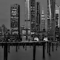 Nyc Hudson Yards Blues Bw by Susan Candelario