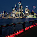Nyc Skyline Super Moon by Susan Candelario