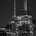 Nyc Times Square Skyscrapers Bw by Susan Candelario