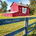 Ohio Bicentennial Red Barn And Fence - Square Format by Gregory Ballos