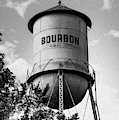 Oil Paint Edition Of Bourbon Water Tower In Black And White by Gregory Ballos
