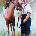Oil Painting Of Little Girl Petting Her by Maria Bo