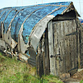 old boat hut at Lindisfarne island by Victor Lord Denovan